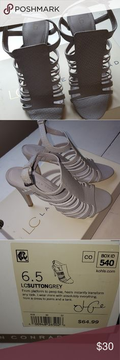 Adorable grey heels Grey open toe heels. Like new! Only worn a few times. Lauren Conrad Shoes Heels