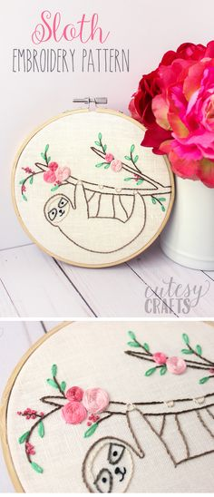 Adorable and free Sloth Embroidery Pattern. So cute!! #embroidery #embroiderypatterns #freeembroiderypatterns #handembroidery
