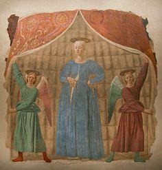 Madonna del Parto - Piero della Francesca.  1467.  Detached fresco.  260 x 203 cm.  Museo della Madonna del Parto, Monterchi, Italy.