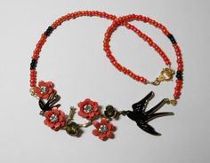 Necklace Metal and flower, crystals, Stunning Coral with Large and Small Black birds in flight coral beads, gorgeous beach jewelry handmade