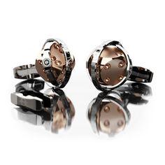 Encelade 1789 Swiss Luxury Cufflinks Dice Cufflinks + Clip // Stainless Steel + Rose Gold