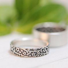 97ac031cd95d Womens anillo de la boda de las mujeres de la Alianza conjunto de la flor  de cerezo plata boda banda de plata hombres de la boda de las mujeres anillo  de ...