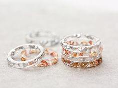 Resin Stacking Ring Silver Flakes Icicle Thin Small by daimblond, €22.00