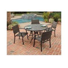 Patio Brown Set 5pcs Slate Dining Chairs Deck Pool Backyard Furniture Weather