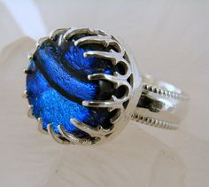 Sterling SIlver and Dichroic Glass Ring  by SilverStringsStrands, $55.00