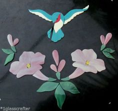 .Hummingbird with flowers precut stained glass mosaic inlay kit. Many original designs selling on ebay.