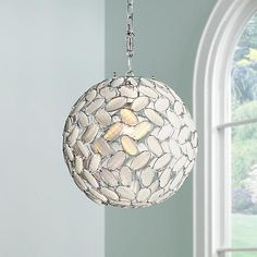 """Kaia Frosted Beads 12"""" Wide Chrome Plug-In Swag Pendant - #Y9118 