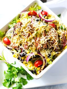 make it meatless Cheesy Mexican Steak Salad with Chipotle Lime Dressing