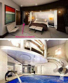 **water slide house, uk, may 2010**  Subterranean. Mansion. With a water slide that goes from the master bedroom to a swimming pool with waterfalls.