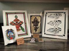 Original watercolor prints by the artists at The Bell Rose Tattoo, available at The Serpents of Bienville Gallery at 1800B Main Street, Daphne, Alabama