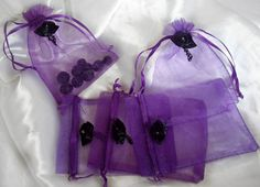 Gothic Black Chained Rose Wedding Favour  Purple Organza Gift Bags Pouch £6.95