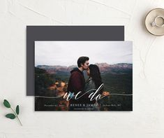 Scripted We Do Photo Wedding Announcements front & back in grey Modern Save The Dates, Wedding Announcements, Simple Weddings, Save The Date Cards, Wedding Details, Wedding Ideas, Card Sizes, Wedding Invitations, Invites