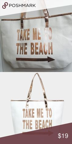 """Take Me to the Beach - Rose Gold Beach Tote This Was so Hard to Photograph !! White Woven Beach Tote - the outside is woven and the inside has a thin liner and a cellphone pocket. Zipper Closure. New with Tags. Size : 20"""" X 14"""" X 6"""" .  The Print is Rose Gold Foil and Matching Handles. Super Cute. Love of Fashion Bags Totes"""