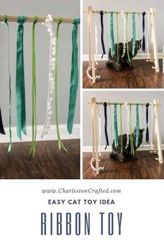 If your cat loves to play but is never satisfied with the toys you buy them, try making them this ca Easy Crafts, Easy Diy, Ribbon Diy, Dollar Store Crafts, Animal Crafts, Diy Stuffed Animals, New Toys, Cat Love, Cool Toys