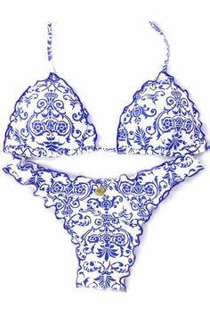 Ellady Blue&white Halter Bikini Set