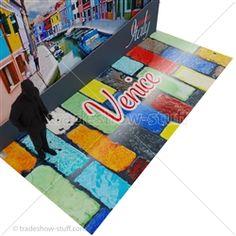 High-Gloss Custom Printed Rollable Trade Show Flooring Trade Show Flooring, Picnic Blanket, Outdoor Blanket, Easy Rolls, Ceramic Texture, Instagram Blog, Flooring Options, Vinyl Flooring, Satin Finish