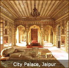 City Palace, Jaipur - CITY PALACE - A delightful blend of Mughal and traditional Rajasthani architecture, the City Palace sprawls over one-seventh of the area in the walled city. It houses the Chandra Mahal, Shri Govind Dev Temple and the City Palace Museum.