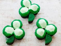 St. Patrick's Day Green Velvet Cupcake Shamrocks: The old-fashioned boiled frosting for these Emerald Isle green cupcakes is creamy and fluffy