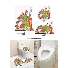 Chaoranhome Pattern Bath Mat Set,3 Piece Bathroom Mats-china travel vector illustration chinese set Bathroom Rugs/Contour Mat/Toilet Cover