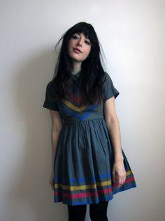 1960's Grey and Rainbow Chevron Stripe Dress by tomorrowisforever