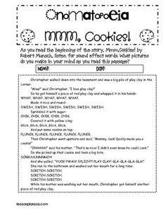 MMMMMM....cookies! SWISH! WHAP! PLUNCK! Students will read the exerpt from Robert Munsch's book (included in the download) and learn to write their...