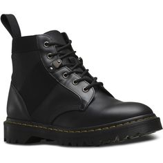 Dr. Martens Beam Short Lace-Up Low Boot (160 CAD) ❤ liked on Polyvore featuring men's fashion, men's shoes, men's boots, shoes, boots, men, black, dr. martens, mens ties and mens black shoes