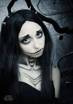 Halloween Inspirational Nightmare Before Christmas Face Paint - 2014 Perfect Party Makeup  #2014 #Halloween