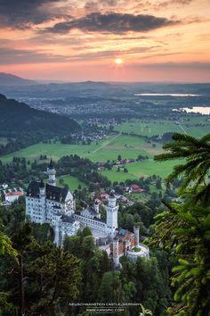 Neuschwanstein Castle in Bavaria, Germany. Walt Disney patterned his castle after Neuschwanstein.