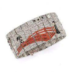 "Art Deco diamond and gem set ""Narrative"" bracelet by Lacloche Freres, Paris circa 1927"