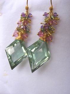 SALE  Fascination Earrings Diamond Shape Green by sharrona on Etsy, $136.00
