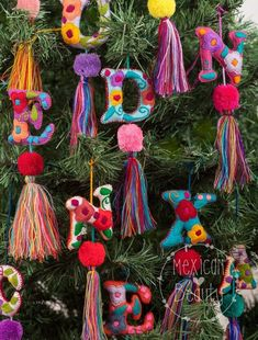 Personalized Gift / Mexican Hand Embroidered Alphabet Letters with pom-poms and Tassels / Custom Mad Pompom Charms /Mexican handmade colorful pom pom tassel Charms / pompom purse charm w friendship bracelet woven string Etsy :: Your place to buy and sell Letter Ornaments, Felt Ornaments, Diy Christmas Ornaments, Handmade Christmas, Holiday Crafts, Christmas Tree, Christmas Pom Pom Crafts, Bohemian Christmas, Spring Crafts