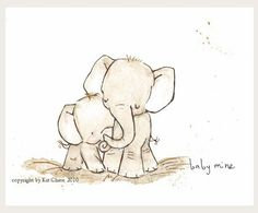 These are so precious ... great range of art on this site.  The elephants are my fav!  Nursery Art  Baby Mine 8x10  Art Print by trafalgarssquare on Etsy, $20.00