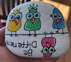 Be different upside down bird painted Rock
