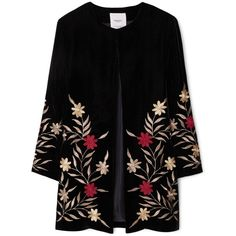 MANGO Embroidered Jacket ($52) ❤ liked on Polyvore featuring outerwear, jackets, blazer, coats, blazer jacket, mango blazer, long sleeve jacket, lined jacket and long sleeve blazer