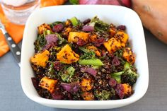 Quinoa Salad with Roasted Sweet Potatoes, Kale, Dried Cranberries, and Red Onion on twopeasandtheirpod.com Love this healthy fall salad! #glutenfree #quinoa