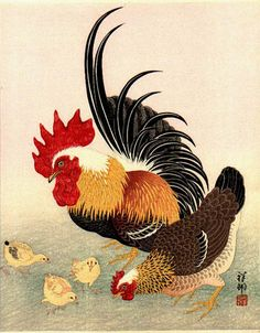 Rooster, Hen, and Chicks by Ohara Koson