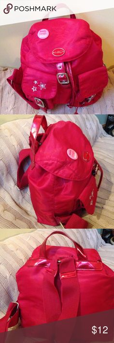American Girl Red Satin Girl's Backpack Very cute bag for girls who really love American Girl. 2 flap closure pockets on front, drawstring & flap closure.                                     Very good condition with minimal wear. american girl Accessories Bags