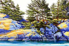 """""""Killarney Shoreline"""" by Margarethe Vanderpas Landscape Quilts, Landscape Drawings, Landscape Art, Landscape Paintings, Acrylic Painting Techniques, Art Techniques, Watercolor Paintings, Oil Paintings, Watercolors"""