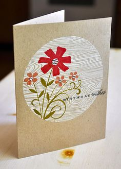 hand stamped card ... kraft ... one-layer ... Hero Arts ... wood grain in white ... flowers colored with Copics ...