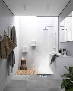 [New] The 10 Best Home Decor (with Pictures) – Lavabo estrecho sobre encimera In the bathroom. New Bathroom Designs, Modern Bathroom Tile, Concrete Bathroom, Bathroom Layout, Wood In Bathroom, Bathroom No Window, Bathroom Ideas White, Bathroom Without Windows, Grey Bathroom Interior