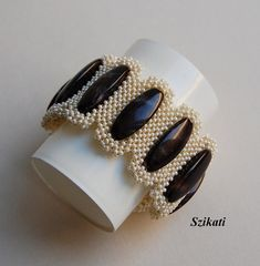 Beige/Brown Seed Bead Cuff Bracelet, Statement Beadwork Bracelet, Elegant Women's Beadwoven Jewelry, Fashion Jewelry, Unique Gift, RAW, OOAK
