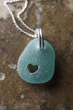 Sea Glass with our carved heart design.