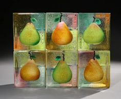 Stephanie Trenchard, SIX RENAISSANCE PEARS, Sand Cast Glass with Sculpted and Painted Inclusions, 10 x 13 x 3 3/4""