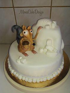 Ice Age Scrat Cake Ice Age Cake, Movie Cakes, Fancy Cakes, Cake Cookies, Amazing Cakes, Arctic, Penguin, Cake Decorating, Birthday Cake