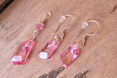 Silver Earring Pendant Set made with Pink Swarovski Crystals and Sterling Silver OOAK design CreativeWorkStudios