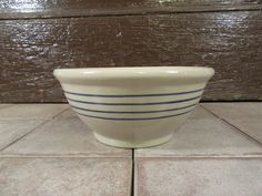 Beautiful and solid stoneware bowl with three blue stripes- functional, great shape, solid by HeathersCollectibles on Etsy