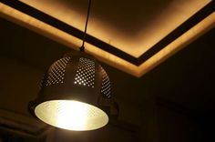 Saw a similar look in Sunset magazine.  Colander used as light fixture.  Plan to add one over kitchen sink.