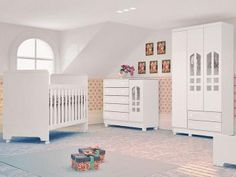 Guarda-Roupa de Bebê Selena 3 Portas 2 Gavetas - Carolina Baby + Cômoda Infantil…