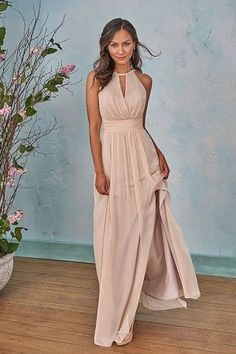 4bc5051579 B203004 Long Halter Neckline Poly Chiffon Bridesmaid Dress with Front Slit