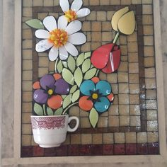 No photo description available. Mosaic Birds, Mosaic Flowers, Mosaic Art, Coffee Cups, Tea Cups, Clay Tiles, Mosaic Projects, Mosaic Designs, Bird Houses
